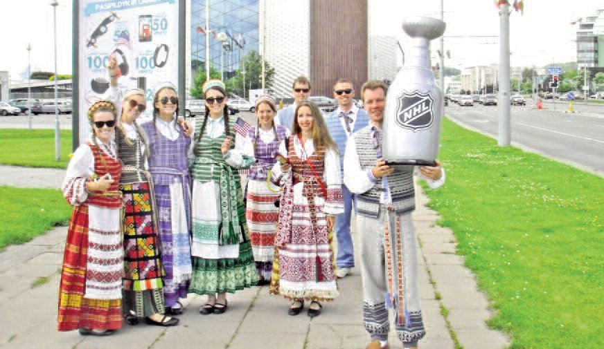 Los Angeles Spindulys dancers in Vilnius – proud of their NHL trophy.