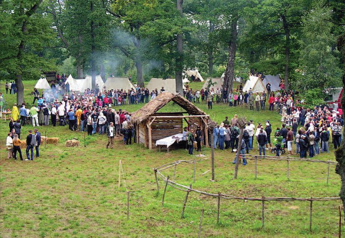 "Festival at Apuolė, commemorating this region's rich history. Source: Wikipedia: ""Apuolė 854"""