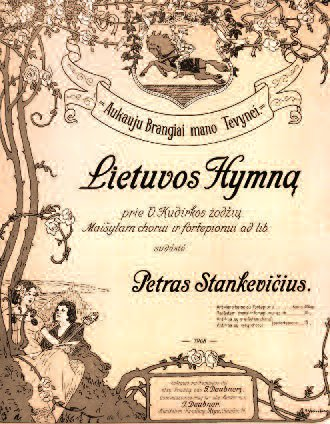 Sheet music featuring the national anthem (Lietuvos Hymnas).