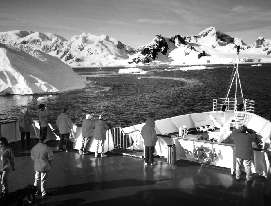 On deck, viewing the Antarctic continent.
