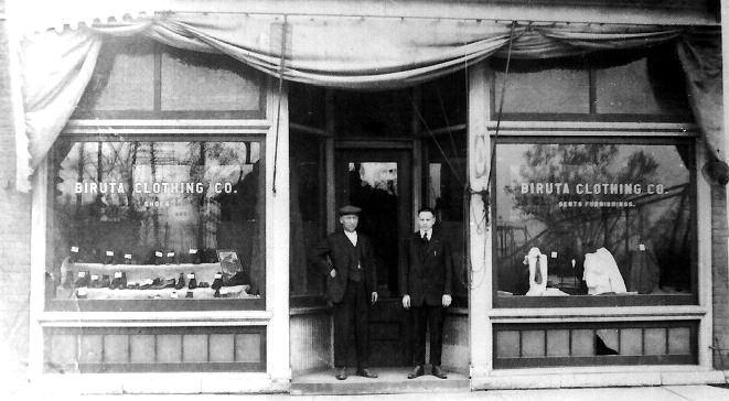 "Nobel Prize winner Robert Shiller's grandfather's shop, ""The Biruta"" clothing store. Detroit, 1918."