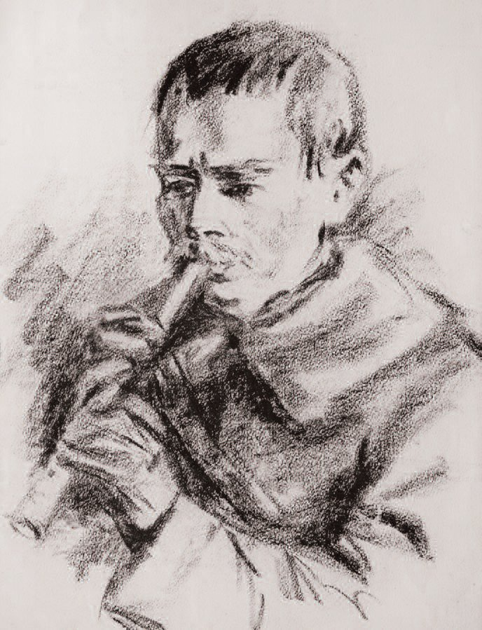 Balys With a Flute. Pencil on paper, 1940