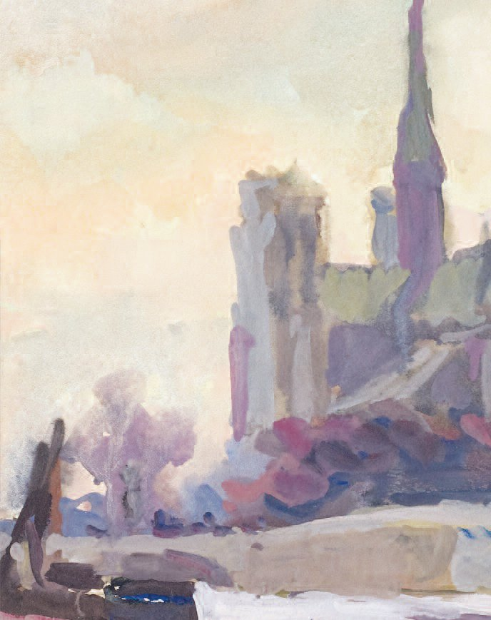 Notre-Dame Cathedral, Paris. Tempera on paper, 1930.