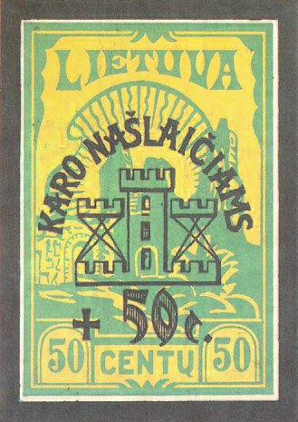 Lithuanian postage stamp design, with surcharge to raise funds for war orphans.