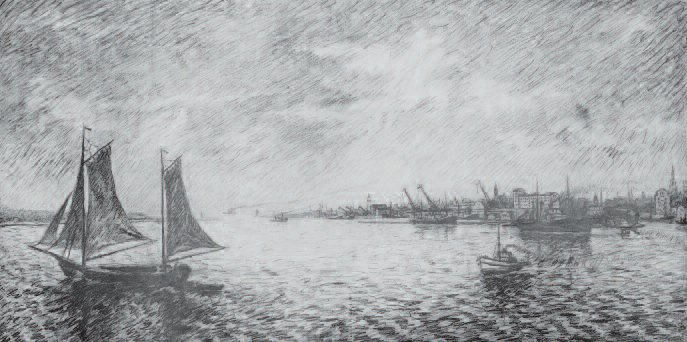 Lithuania's Gateway to the Sea. Pencil on paper, 1936-37. Sketch for the award-winning harborscape painted for the opening of the Lithuanian Chamber of Trade and Commerce in 1938.