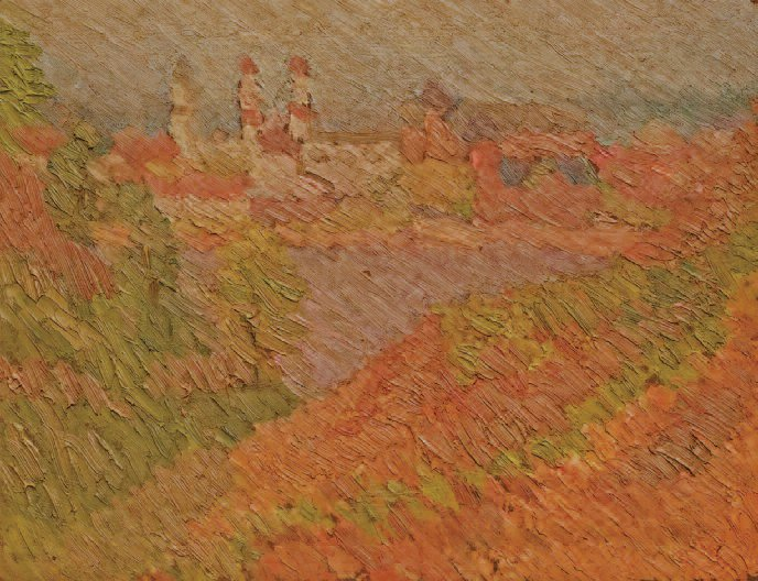 Steeples of Old Town from Aleksotas. Oil on cardboard, 1929.