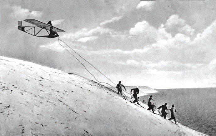 """RRG Zögling (""""gandras"""") glider at Nida, 1933-34"""