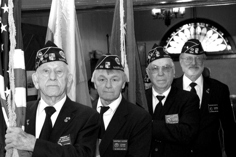 The American Legion, Baltimore Lithuanian Post 154, flag detail, took part in the LHA commemorative event. American Legionnaires from left: John Maskavich, Augustinas Uleckas, Henry Gaidis and Gintaras Buivys.