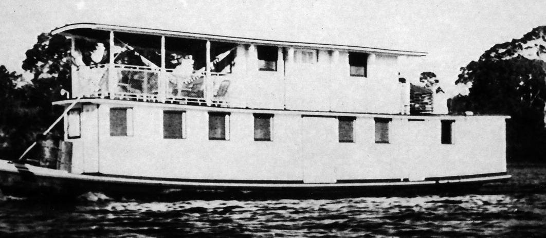 "Dr. Bendoraitis' floating clinic, the ""Lituania"". The main deck housed the office and dental chair, consulting room, three hospital beds, galley (kitchen), and 2 toilets. The upper deck consisted of the dining area, four rooms with two beds and a veranda"