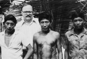 The author (R. John Rapsys) and Indians from three different tribes who came to visit Dr. Bendoraitis. From left: Paacas Novos, Oroeo, and Uraramchen. Guajara-Mirim, 1973