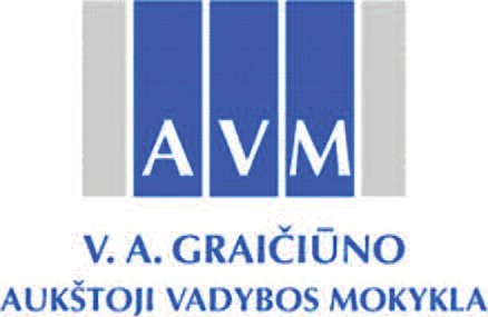The logo of the Graičiūnas School of Management in Lithuania